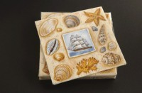 Serviette 33x33cm coquillage - Paquet de 20