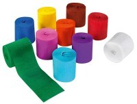 Papier crepon 10mx5cm assortis - Paquet de 10