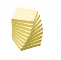 Bloc note repositionnable 76x76 jaune 100 feuilles - Lot de 12