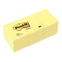 Post it repositionnable 38x 51mm jaune 100 feuilles - Lot de 12