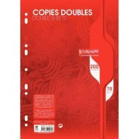 Copie double blanche Clairefontaine A4 petit carreaux 70g perforee - sachet de 50