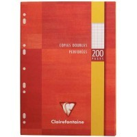 Copie double blanche Clairefontaine A4 grand carreaux 90g perforee - etui de 50