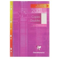 Copie double blanche Clairefontaine A4 petit carreaux 90g perforee - etui de 50