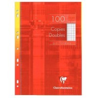 Copie double blanche Clairefontaine A4 grand carreaux 90g perforee - etui de 100