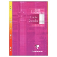 Copie double blanche Clairefontaine A4 petit carreaux 90g perforee - etui de 100