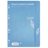 Feuille simple bleu Clairefontaine A4 grand carreaux 80g - sachet de 50
