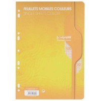 Feuille simple jaune Clairefontaine A4 grand carreaux 80g - sachet de 50