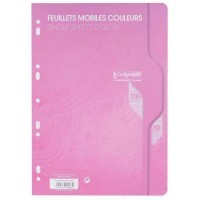 Feuille simple rose Clairefontaine A4 grand carreaux 80g - sachet de 50