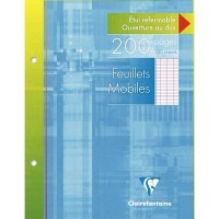 Feuille simple blanche Clairefontaine 17x22 grand carreaux 90g - etui de 100