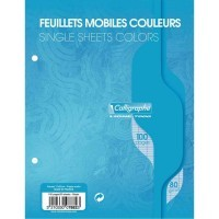 Feuille simple bleu Clairefontaine 17x22 grand carreaux 80g - sac de 50