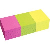 Bloc note repositionnable de 80 feuilles format 40 x 50 mm couleurs vives assorties - Lot de 12