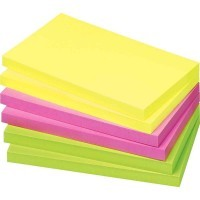 Bloc note repositionnable de 80 feuilles format 75 x 125 mm couleurs vives assorties - Lot de 12