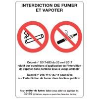 Panneau Interdit De Fumer Et De Vapoter 21x15cm