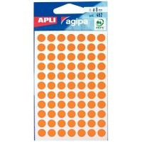 111835 - Pastille adhésive diamètre 8 mm orange - Sachet de 462
