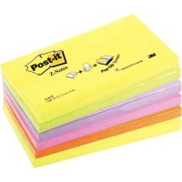 Z-notes repositionnable 76 x 127 mm, couleurs néon assorties - Lot de 6 Blocs