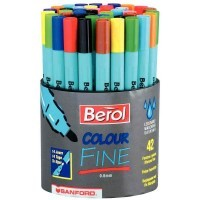 Pot de 42 feutres Colourfine Berol