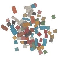 Pot de 1kg de mini mosaïques antiques, 5 x 5 mm. 12 couleurs assorties