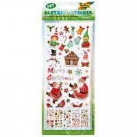 Pochette de 5 planches de stickers scintillants assortis 'Noel'