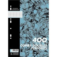 Sachet de 100 copies doubles ( 400 pages perforées ), 21 x 29,7 cm Seyes, 70 g, blanc