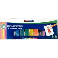 Classpack de 144 crayons de couleur triangulaires pointe large assortis