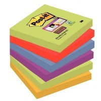 Paquet de 6 blocs de 90 feuilles Super Sticky post-it, 76x76 mm, couleurs Marrakech : vert, rouge, bleu, violet et jaune