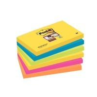 Paquet de 6 blocs de 90 feuilles Super Sticky post-it, 76 x 127 mm, couleurs Rio : jaune, turquoise, vert, rose néon et orange