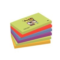 Paquet de 6 blocs de 90 feuilles Super Sticky post-it, 76 x 127 mm, couleurs Marrakech : vert, rouge, bleu, violet et jaune