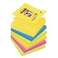 Lot de 6 blocs de 90 feuilles Z-Notes Super Sticky post-it, 76x76 mm, couleurs Rio : jaune, turquoise, vert, rose néon et orange