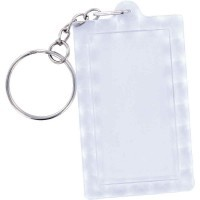 Porte clés transparents rectangles, en plastique - Lot de 10