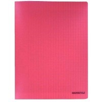 Cahier piqures grand carreaux polypropylene A4 48p 90g rouge
