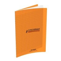Cahier piqure 48 pages 17x22 cm, seyes 90g, couverture en polypropylene: Orange