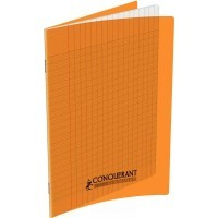 Cahier piqure 96 pages 17x22 cm, seyes 90g, couverture polypropylene: Orange