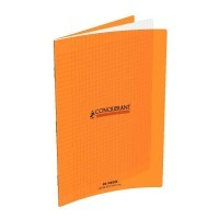 Cahier piqure 96 pages 21x29,7 cm, seyes 90g, couverture polypropylene: Orange
