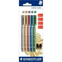 Marqueur Metallic Marker pointe ogive couleur assortie - Blister de 5