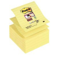 Bloc de 90 feuilles Z-Notes Super Sticky jaune lignées, format 101x101 mm - lot de 5