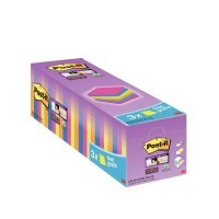 Boîte de 24 blocs Post-It Super Sticky néon dont 3 gratuits, format 76x76 mm.  Coloris assortis