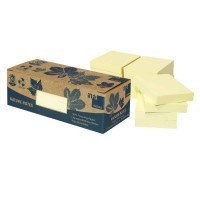 Bloc notes repositionnables recyclées 40x50 mm jaune - Lot de 12