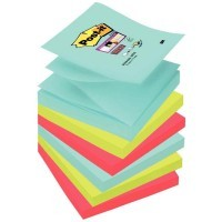 Z-Notes Super Sticky post-it, 76x76 mm, couleurs Miami : bleu océan, vert néon et coquelicot - Lot de 6 blocs de 90 feuilles
