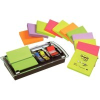 Bloc notes repositionnables coloris assortis néon + marque-pages standard + dévidoir millénium offert - Lot de 12