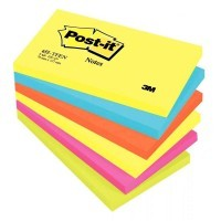 Post it repositionnable tutti frutti 76x127 assorti-lot de 6