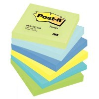 Post it repositionnable mint 76x76 assorti - Lot de 6 blocs