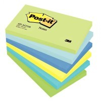 Post it repositionnable mint 76x127 assorti - Lot de 6 blocs