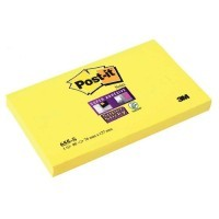 Post it repositionnable super sticky 76x127 jaune - bloc de 90 feuilles