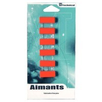 Punaise magnetique 12x25 rouge - Blister de 6