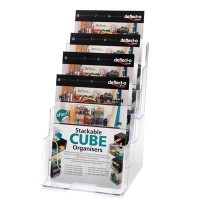 Porte brochures de comptoir 4 cases vertical A5