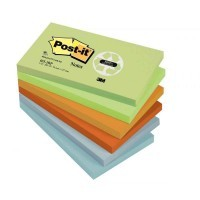 Post it repositionnable recycles 76x127 assortis-lot de 12 blocs