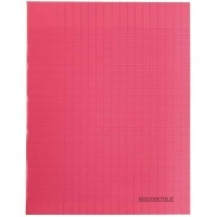 Cahier piqures grand carreaux polypropylene 17x22 48p 90g - Rouge