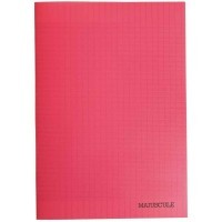 Cahier piqures grand carreaux polypropylene A4 96p 90g rouge