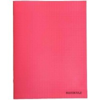 Cahier piqures grand carreaux polypropylene 24x32 96p 90g rouge