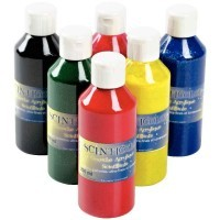 Gouaches acrylique scintillante - Lot de 6 flacons 250ml